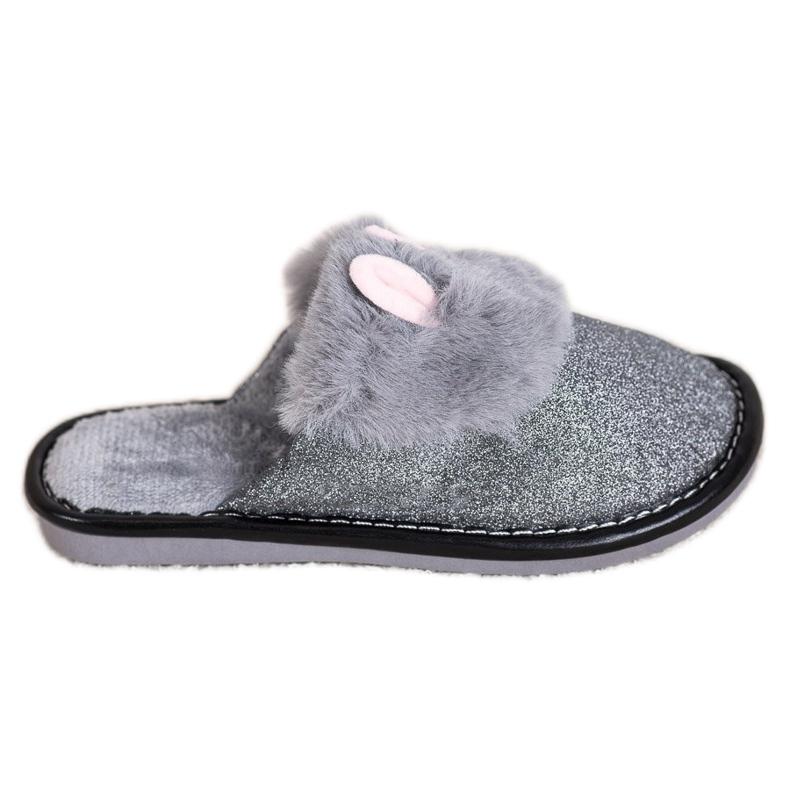 Bona Zapatillas de purpurina con daño gris