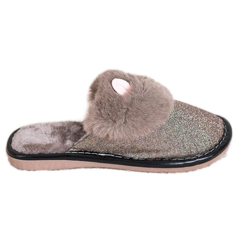 Bona Zapatillas de purpurina con daño beige