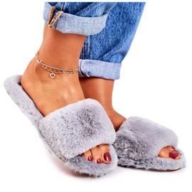 FRJ Pantuflas de piel para mujer Grey Cold Days gris