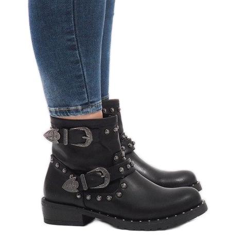 Botas negras con broches y lentejuelas A8018 negro