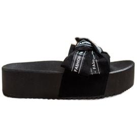 SHELOVET Zapatillas con lazo de moda negro