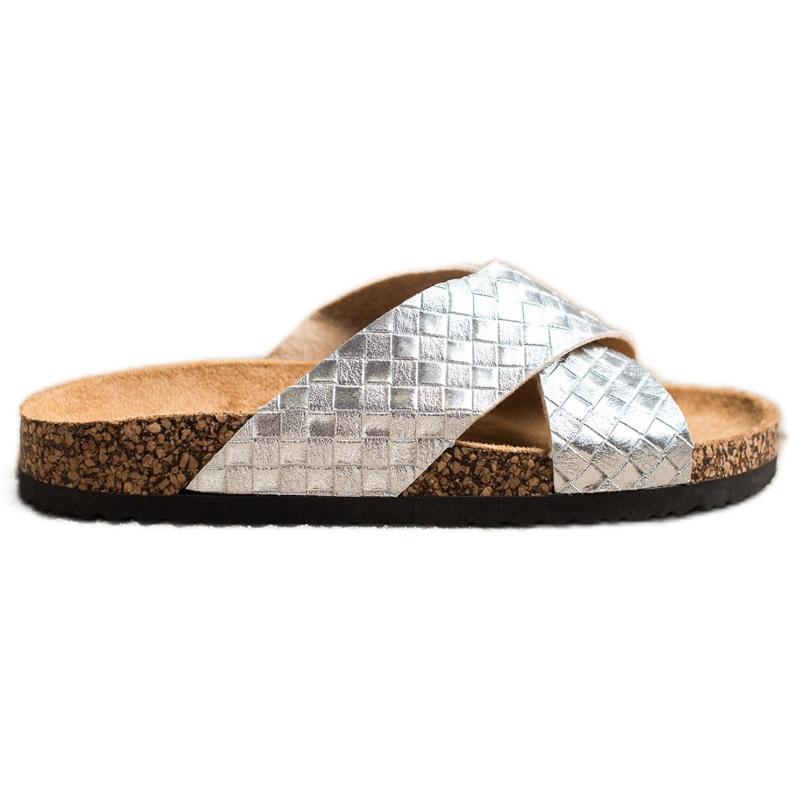 Bona Zapatillas cómodas con cuero ecológico plata