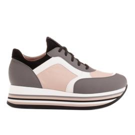Marco Shoes Zapatillas ligeras sobre suela gruesa de piel natural gris