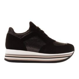 Marco Shoes Zapatillas ligeras sobre suela gruesa de piel natural negro