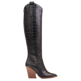 Marco Shoes Botas altas para mujer, botas vaqueras, estampado croco negro