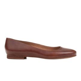 Marco Shoes Bailarinas de piel flor marrón, pulidas a mano