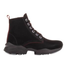 Marco Shoes Botas deportivas de mujer nobuck con inserciones rojas negro