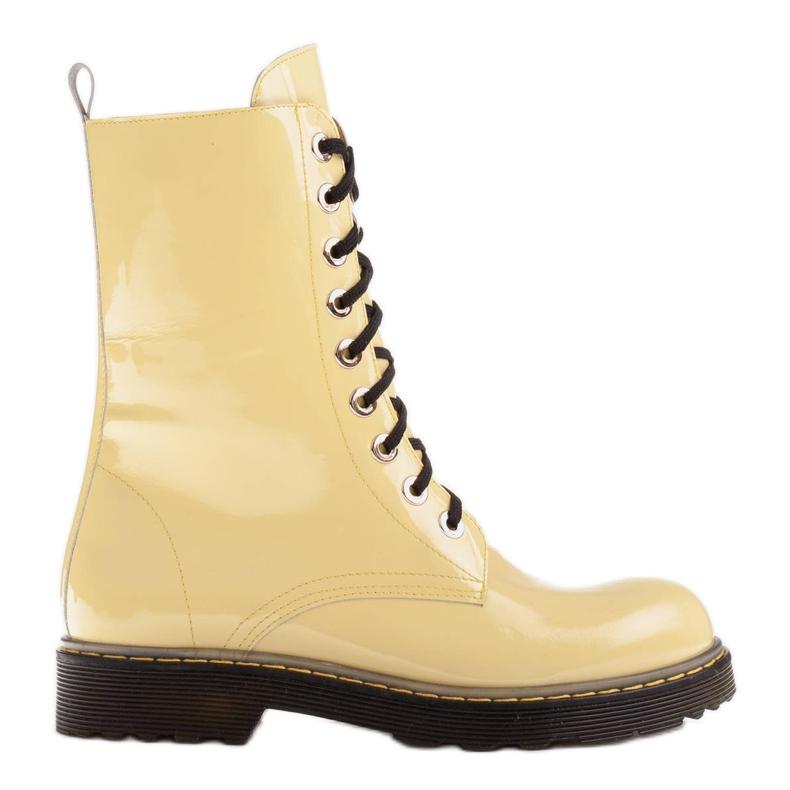 Marco Shoes Botines altos, botas atadas a suela translúcida amarillo