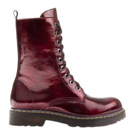 Marco Shoes Botines altos, botas atadas a suela translúcida rojo