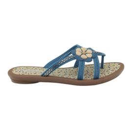 Rider Chanclas para niños zapatos con una flor al agua Grendha azul