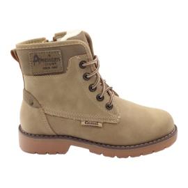 American Club Botas de invierno, botas, botas, slider americano 1904, beige. marrón