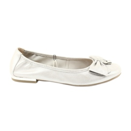 Zapatillas bailarinas caprice 22111 plateadas. gris