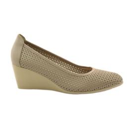 Zapatillas de mujer koturno Daszyński 113 marrón