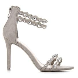 Vinceza Sandalias grises con adornos