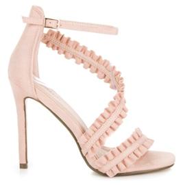 Seastar Sandalias tacones altos con un volante rosa