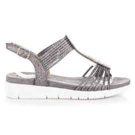 Kylie gris Sandalias con cristales