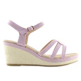 Sandalias en los tacones de cuña baja púrpura SR-2817 púrpura
