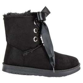 Kylie negro Botas de nieve atadas