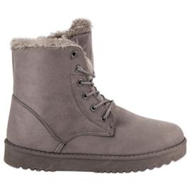 Forever Folie gris Zapatos de gamuza caliente