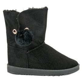 Negro Mukluki con un abrigo de piel de oveja