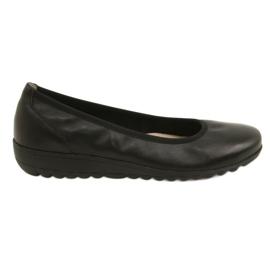 Negro Bailarinas de cuero cómodas Caprice 22150