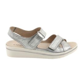 Gris Sandalias caprice zapatos de piel mujer plata.