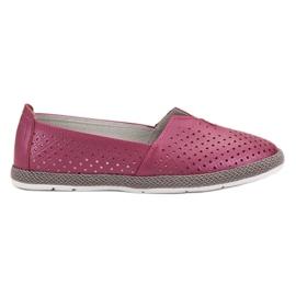 Púrpura Zapatillas De Cuero Slip On VINCEZA