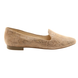 Marrón Zapatillas de ballet de cuero para mujer Lordsy Caprice 24203 beige