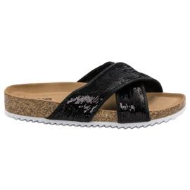 Kylie Zapatillas Negras Con Lentejuelas negro