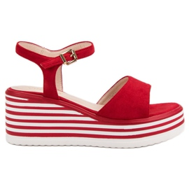 Vinceza Sandalias de cuña cómodas rojo