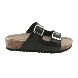 Zapatillas Inblu NM013 negras para mujer con motas plateadas negro