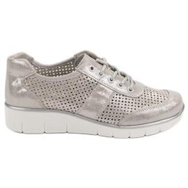 Filippo Zapatos de cuero calado gris