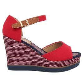 Sandalias en tacones de cuña rojo 9079 rojo.