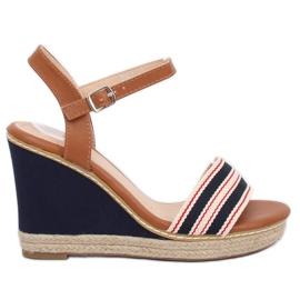 Sandalias en el azul de cuña azul marino 9068