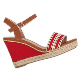 Sandalias en tacones de cuña rojo 9068 rojo.