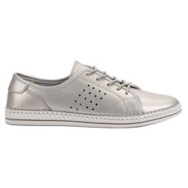 Kylie Zapatos de cuero con cordones gris