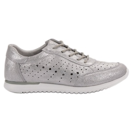 Kylie Zapatos de cuero plateado gris