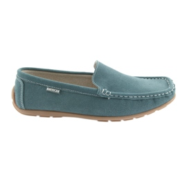 American Club Zapatillas mocasines de piel para mujer azul denim.