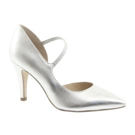 Gris Zapatos con correa Caprice 24402 plata.