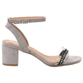 Ideal Shoes Elegantes sandalias de gamuza gris
