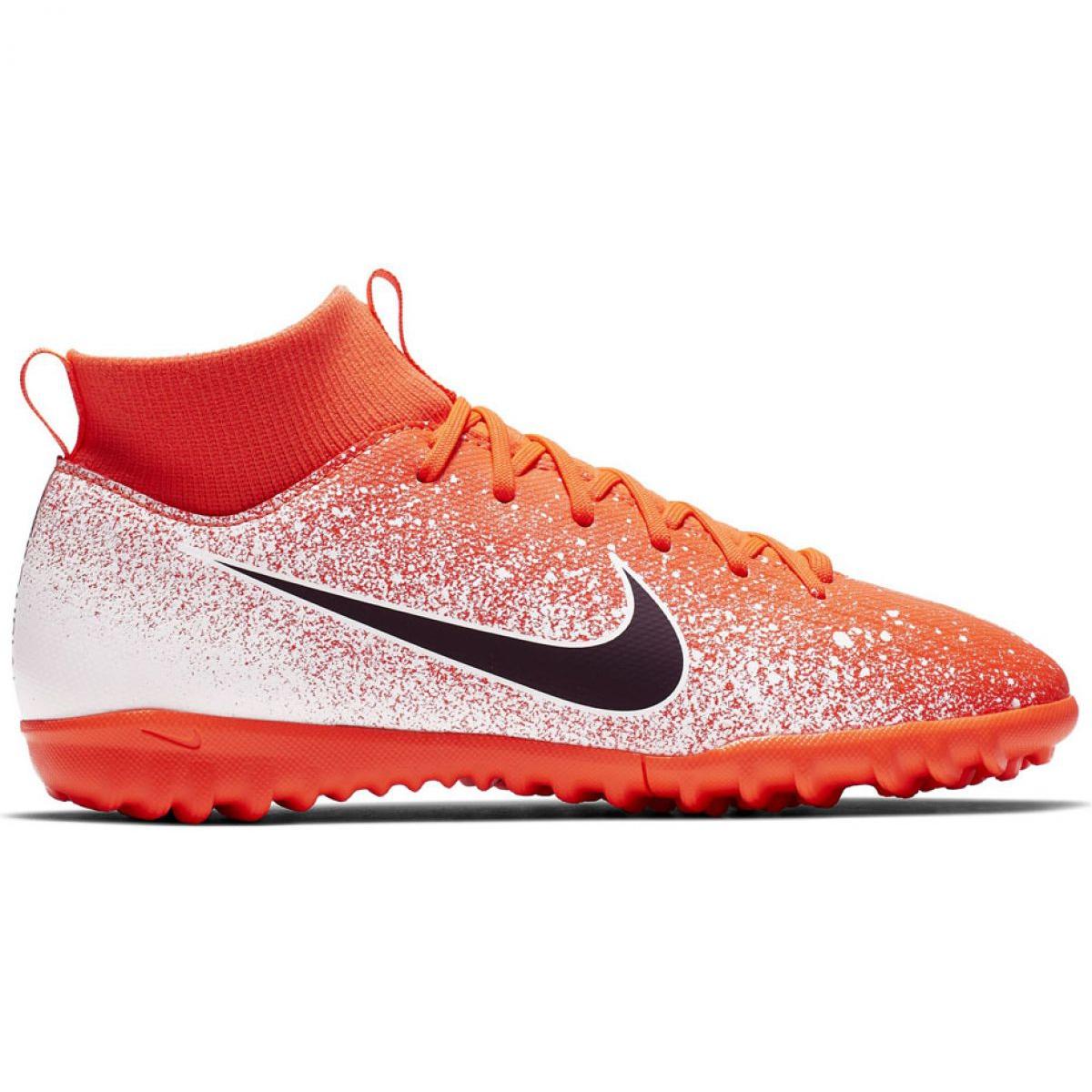 Botas de fútbol Nike Mercurial Superfly X 6 Academy Tf Jr AH7344 801 blanco naranja naranja