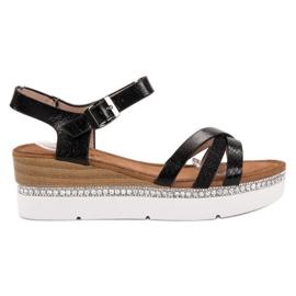Seastar Sandalias de moda con circonitas. negro