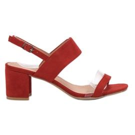 Ideal Shoes rojo Sandalias de moda de las mujeres