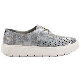 Goodin Zapatos de cuero ligero gris