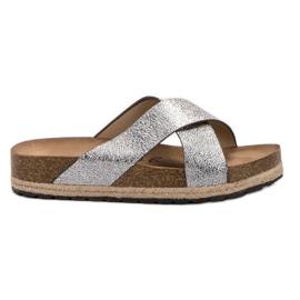 Goodin Zapatillas de plata cómodas gris