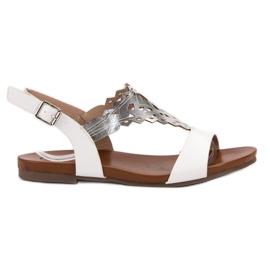 Kylie blanco Sandalias planas con estilo