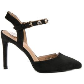 Kylie negro Stilettos con un talón expuesto.