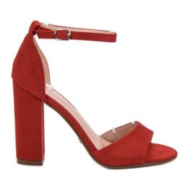Ideal Shoes rojo Sandalias cómodas de tacón alto