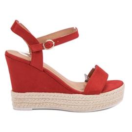 Ideal Shoes rojo Sandalias con estilo en cuña
