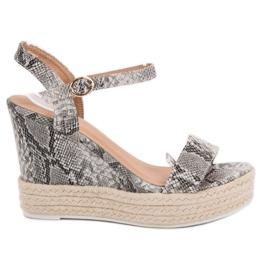 Ideal Shoes gris Sandalias con estilo en cuña